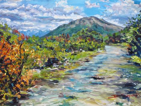 rio azul con tres picos 29x20