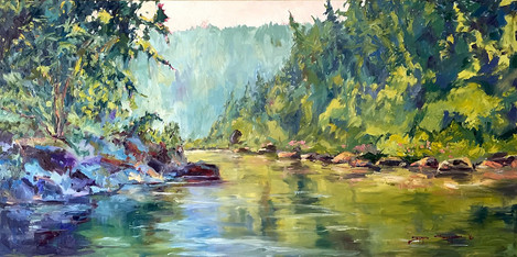 Healing Downstream, 24x48 oil on canvas, COMISSION