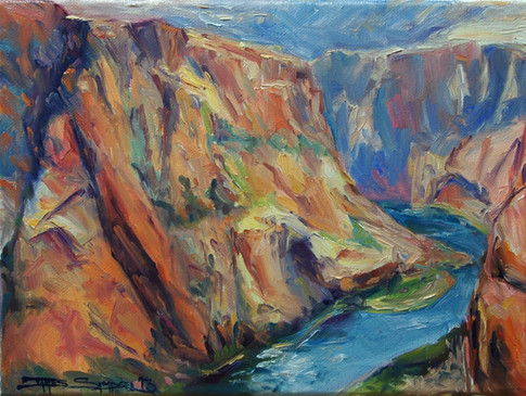 Red Rocks Around the Green River 12x9 oil
