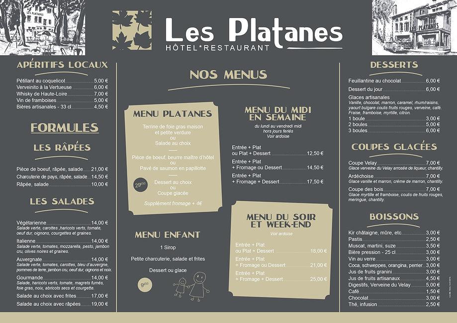 menu les platanes Montfaucon