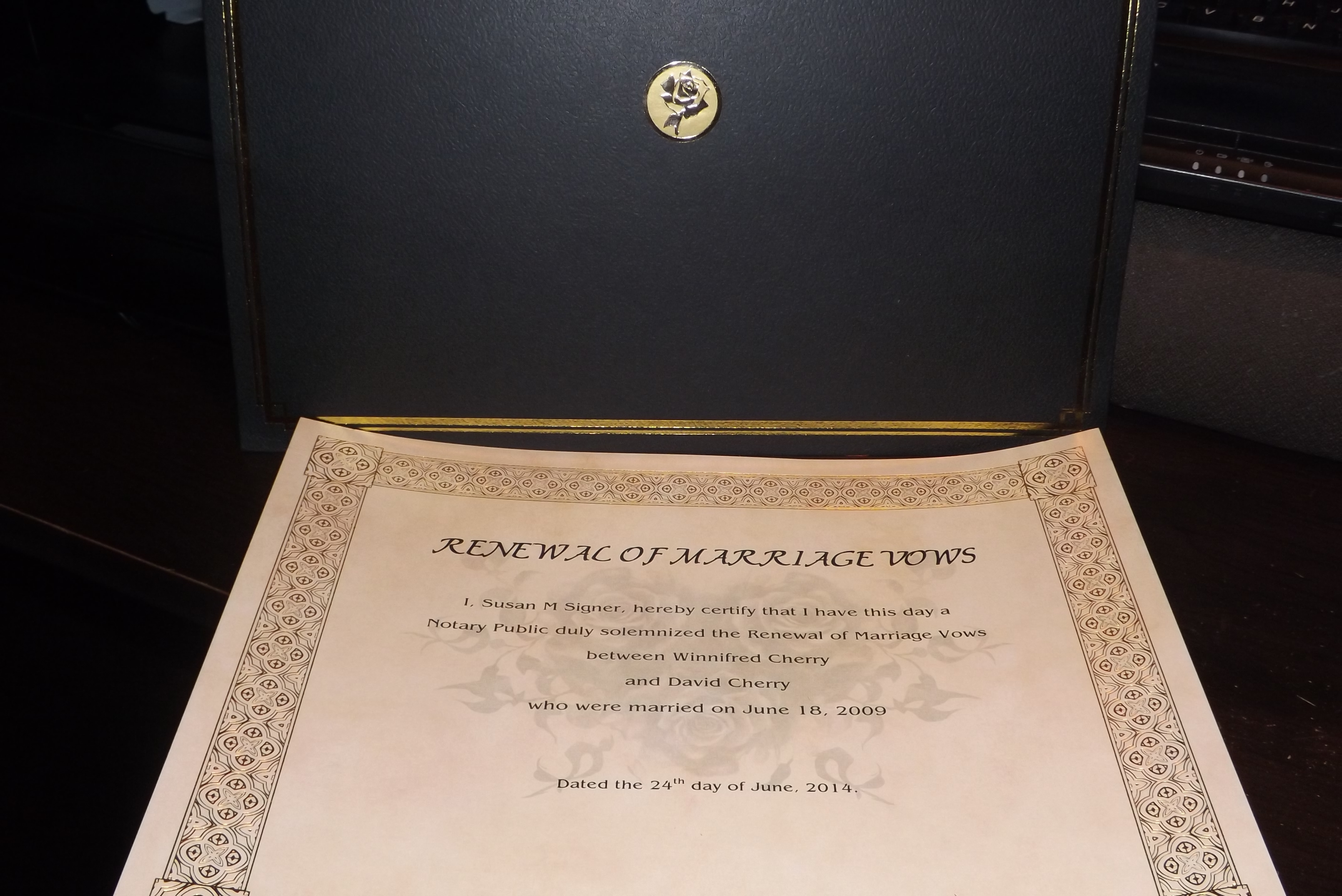 Rose Vow Renewal Certificate