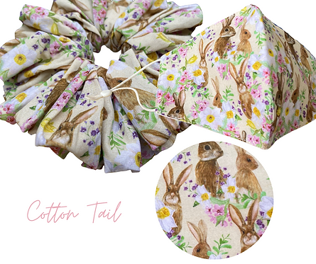 Cotton Tail Face Mask & Scrunchie  UK Free Post