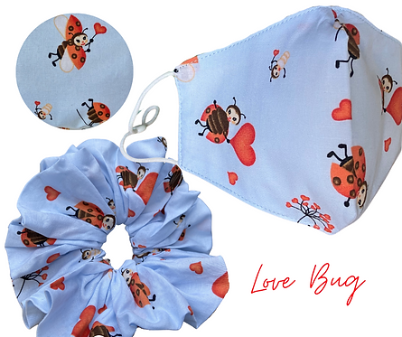Love Bug Face Mask & Scrunchie  UK Free Post
