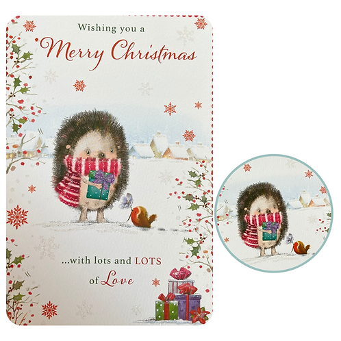 Hedgehog Christmas Card With Your Personal Message