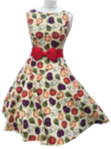 Vegetable print dress/retro dress