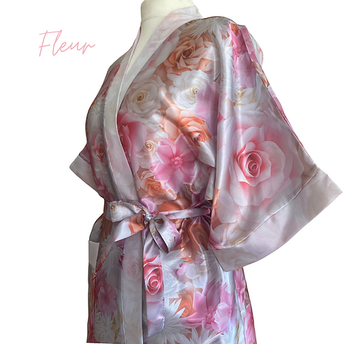 Fleur Satin Dressing Gown/Robe