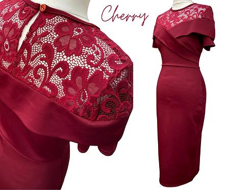 Cherry Burgundy Lace Top Dress
