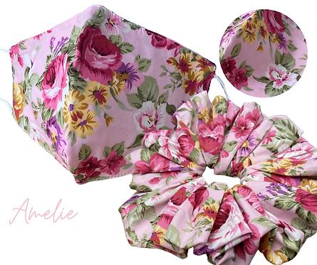 Amelie Face Mask &  Scrunchie   UK Free Post