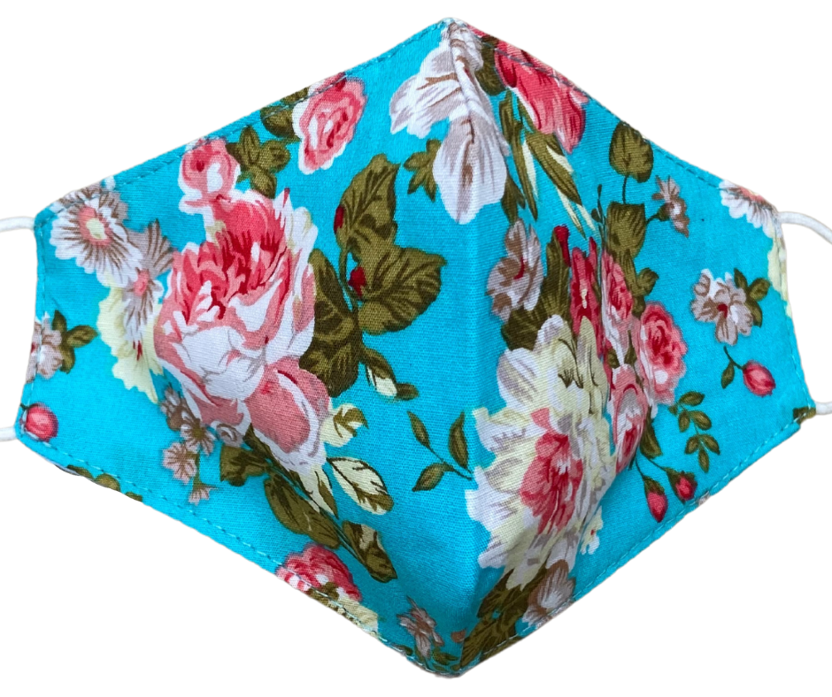 China rose fabric floral face mask