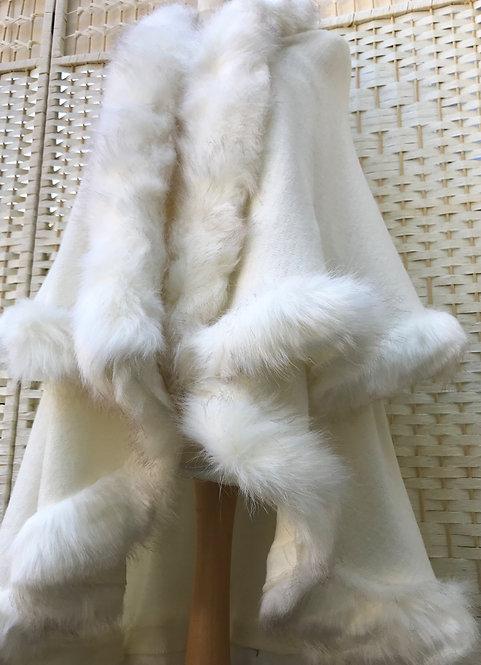 Meribel White Faux Fur Cape