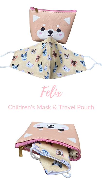 Children's Felix Face Mask & Carry Pouch Made In UK