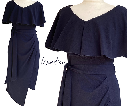 Windsor Navy Ruffle Top Dress