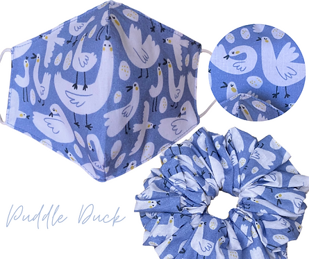 Puddle Duck Face Mask & Scrunchie  UK Free Post