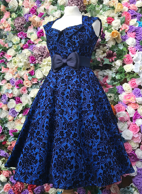 Sapphire Flock Dress Made In England
