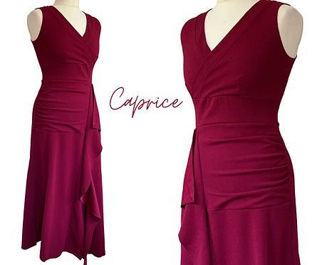 Caprice Burgundy Frill  Dress