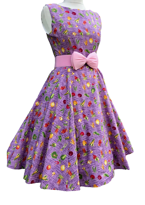 Peck Of Purple Peppers Cotton Dress