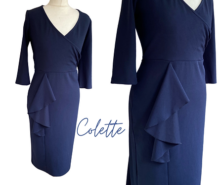 Colette Navy Fitted  Dress