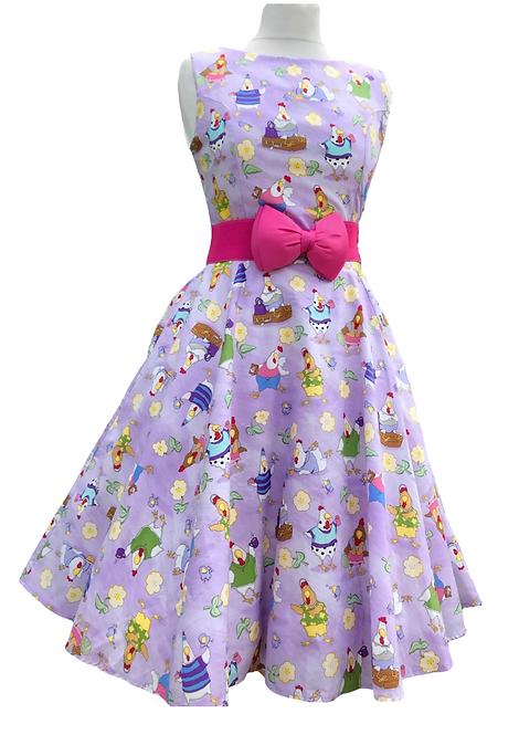 Cheerful Chicken Cotton Dress