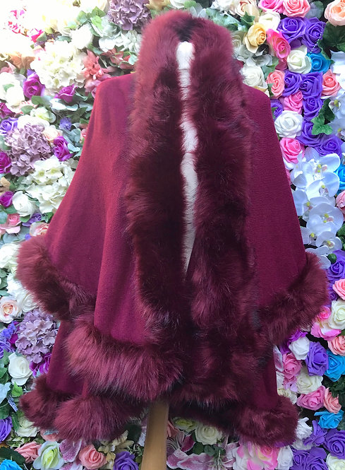 Meribel Burgandy Faux Fur Cape