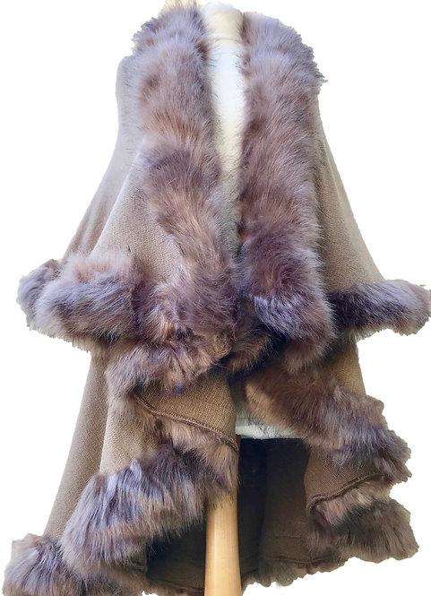 Meribel Mocha Faux Fur Cape