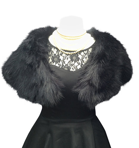 Midnight Quality Faux Fur Capelet