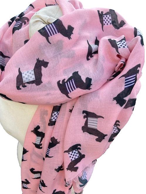 Pink Cashmere Mix Scotty Dog Scarf/Wrap