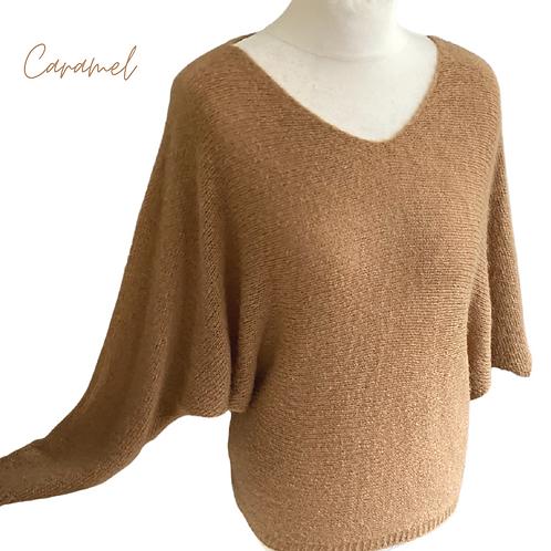 Caramel Wool Mix Batwing Jumper