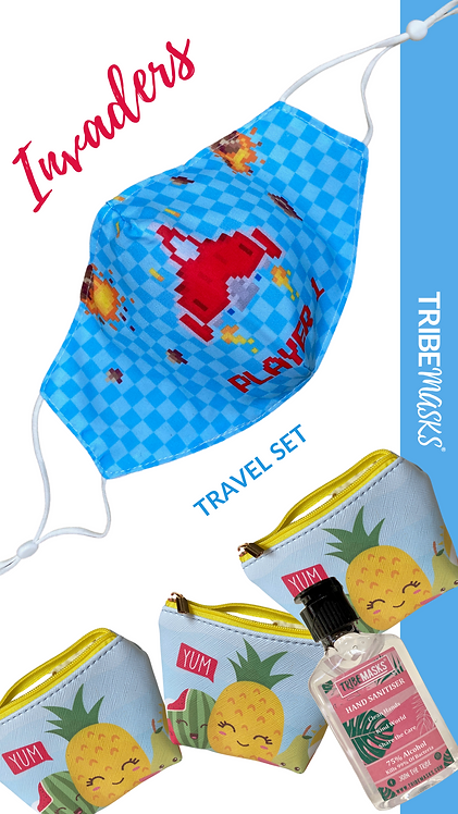 Invaders Face Mask  Travel Pouch Set