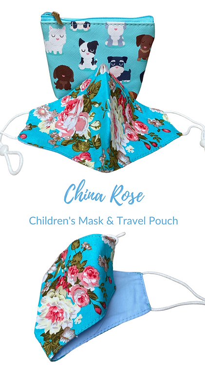 Children's China Rose Fabric Face Mask & Carry Pouch Made In UK