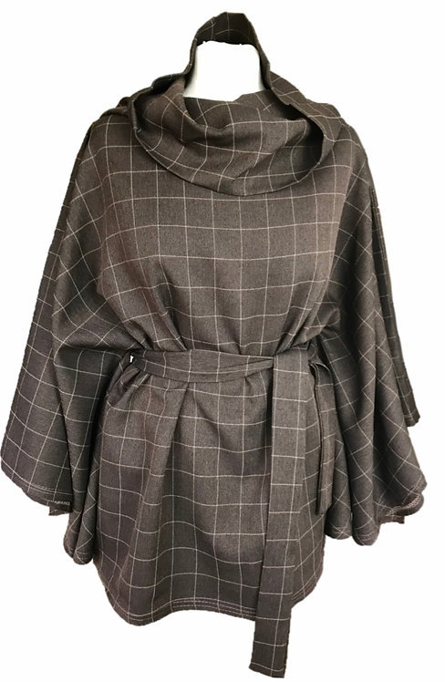 Lewis Plaid Cowl Neck Cape