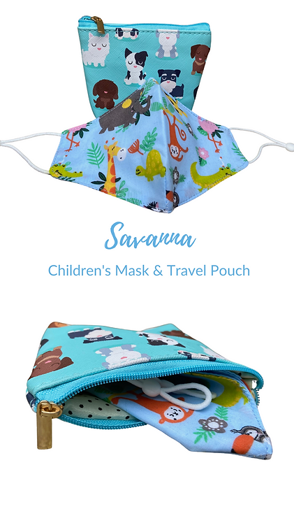 Children's Savanna Face mask & Carry Pouch Made In UK