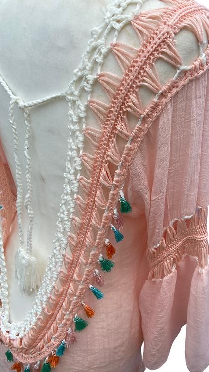 Pom Pom Beach Dress Peach