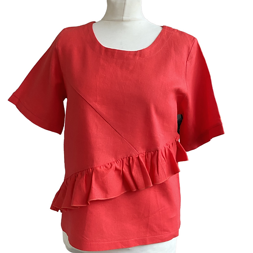 Coral Linen Frill Top