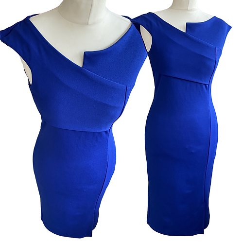 Marie Blue Fitted  Dress
