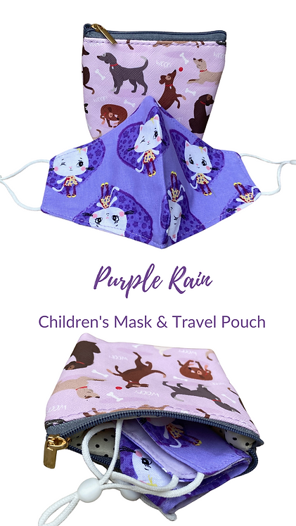 Children's Purple Rain Face mask & Carry Pouch Made In UK