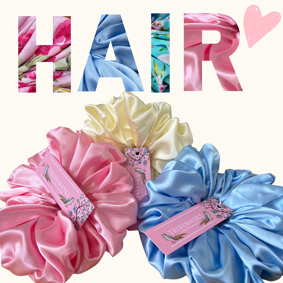 Large satin hair scrunchies kind to hair
