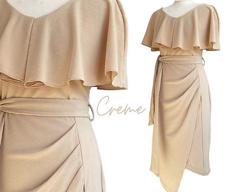 Creme Ruffle Top Dress