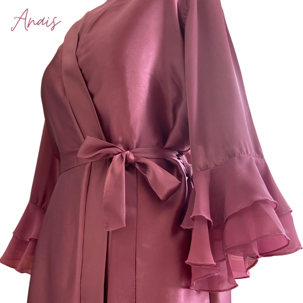Frilly Chantilly Satin Robe Dressing Gown