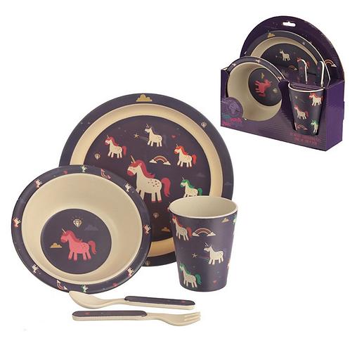 Unicorn Bamboo Plate Set