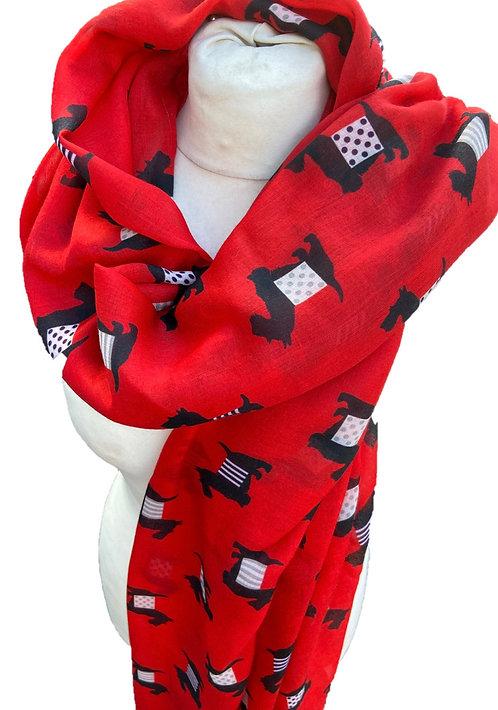 Red Cashmere Mix Scotty Dog Scarf/Wrap