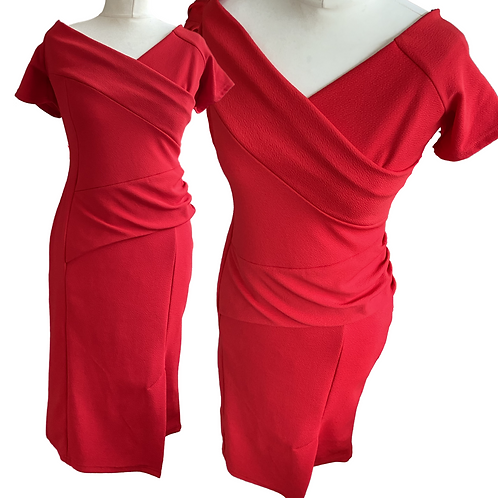 Elise Red Fitted  Dress