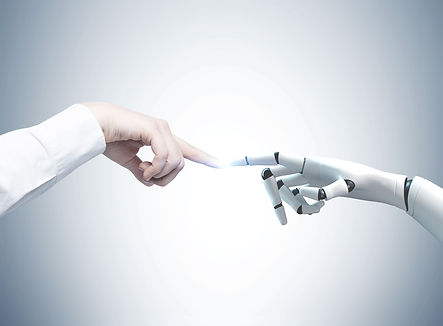 Human and robot hands reaching out and t
