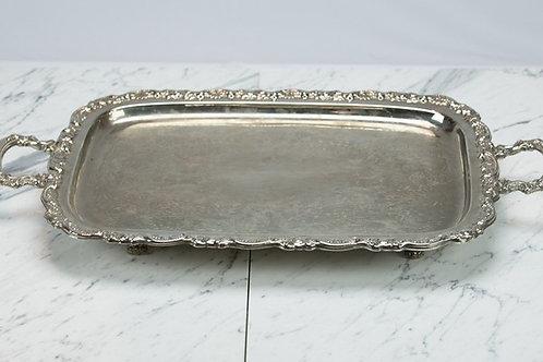 Ornate Rectangular Platter with Handles