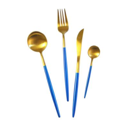 Brushed Gold& Blue Flatware
