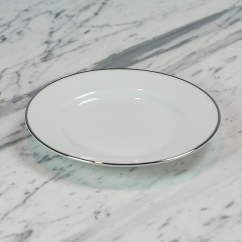 White with Silver Bread and Butter Plate