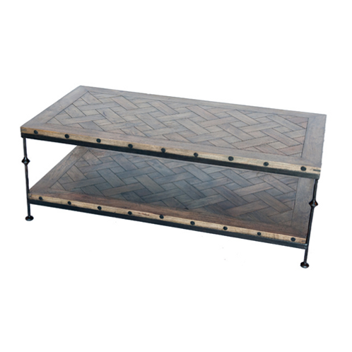 Parquet and Iron Coffee Table