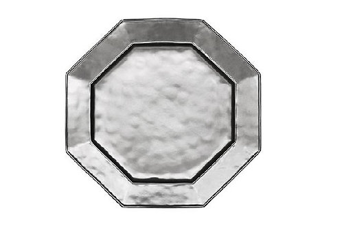 Pewter Octogonal Stoneware Charger