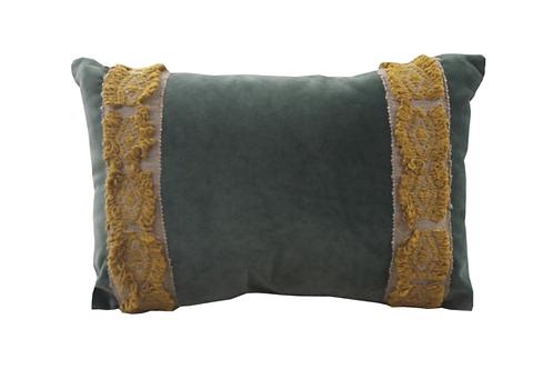 Jade Velvet with Saffron Trim Lumbar Pillow