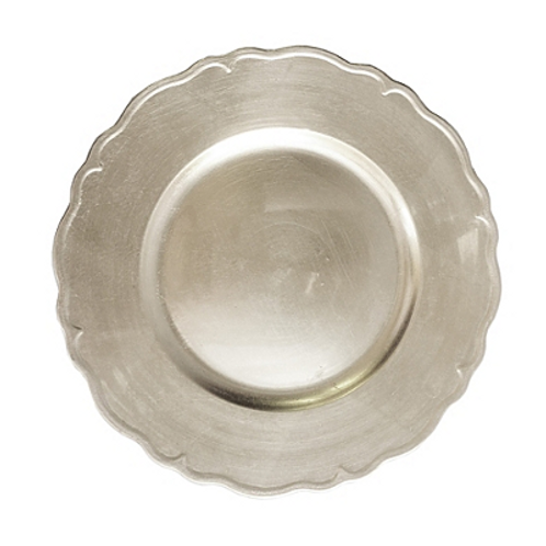 Silver Scalloped Acrylic Charger