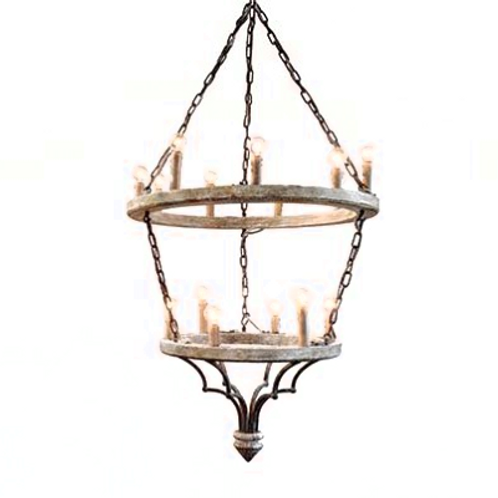 Townsend Wood & Rusted Iron Chandelier